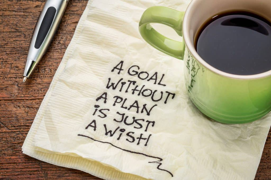 coffee cup and napkin with text that says a goal without a plan is just a wish