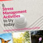 pinterest pin for stress management activities