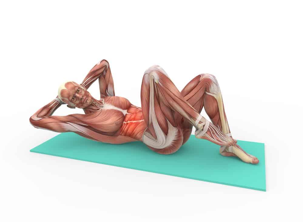 cartoon human anatomy doing abdominal exercises