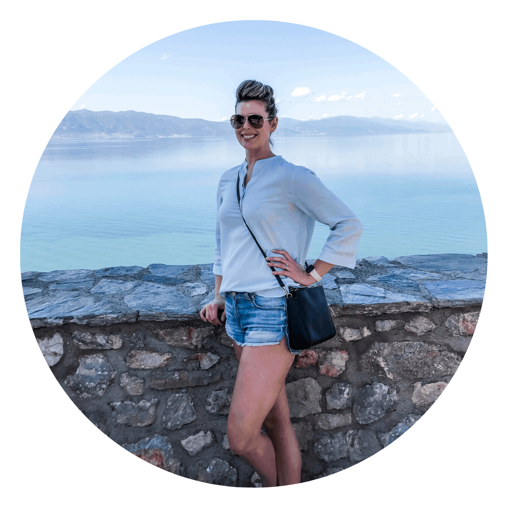 woman standing by lake ohrid