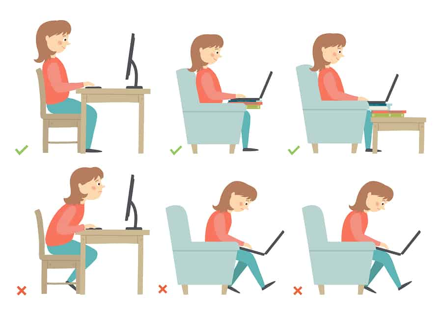 cartoon woman working at a computer demonstrating poor posture and good posture to supplement an article about how to exercise with lower back pain.