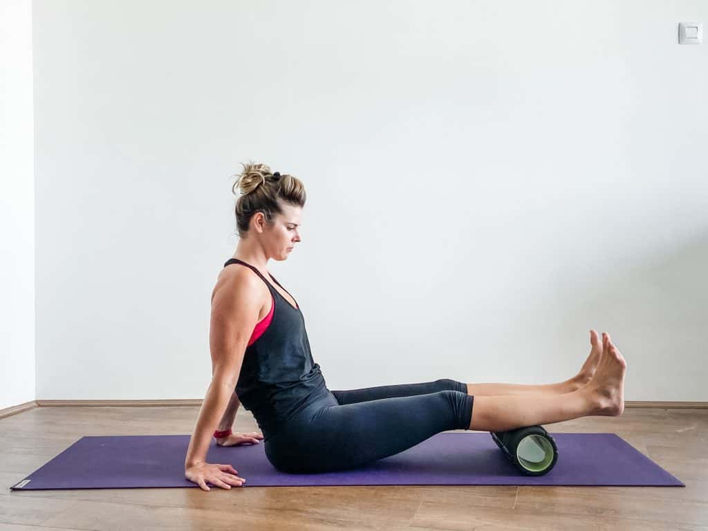 foam rolling calf muscle for ankle and foot flexibility
