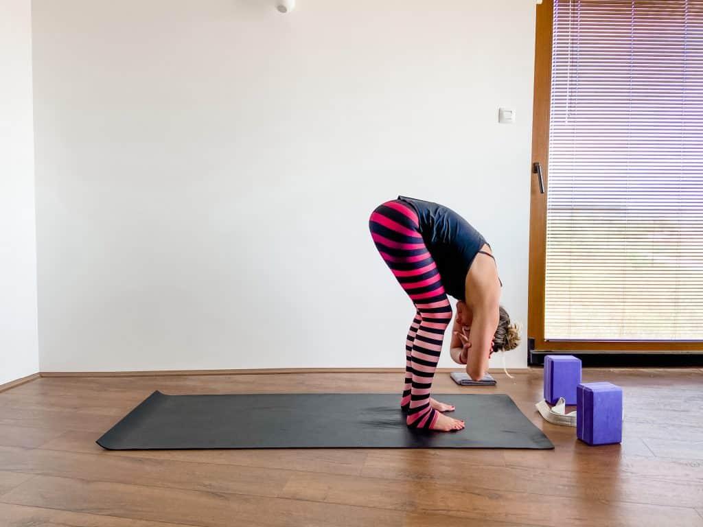 forward fold yoga pose hamstring and low back flexibility