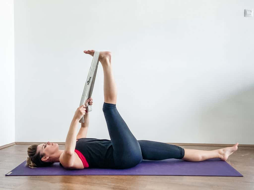 supine hamstring stretch with strap