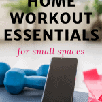 picture of weights and a smartphone with text overlay the best affordable home workout essentials for small spaces