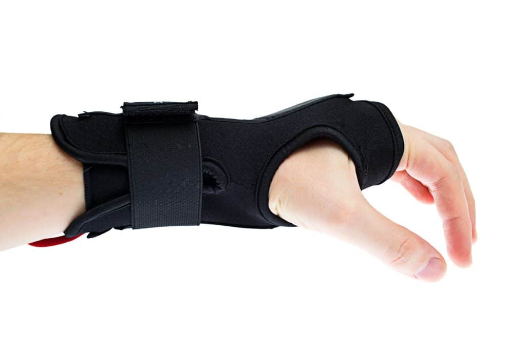 image of a hand and wrist wearing a wrist splint