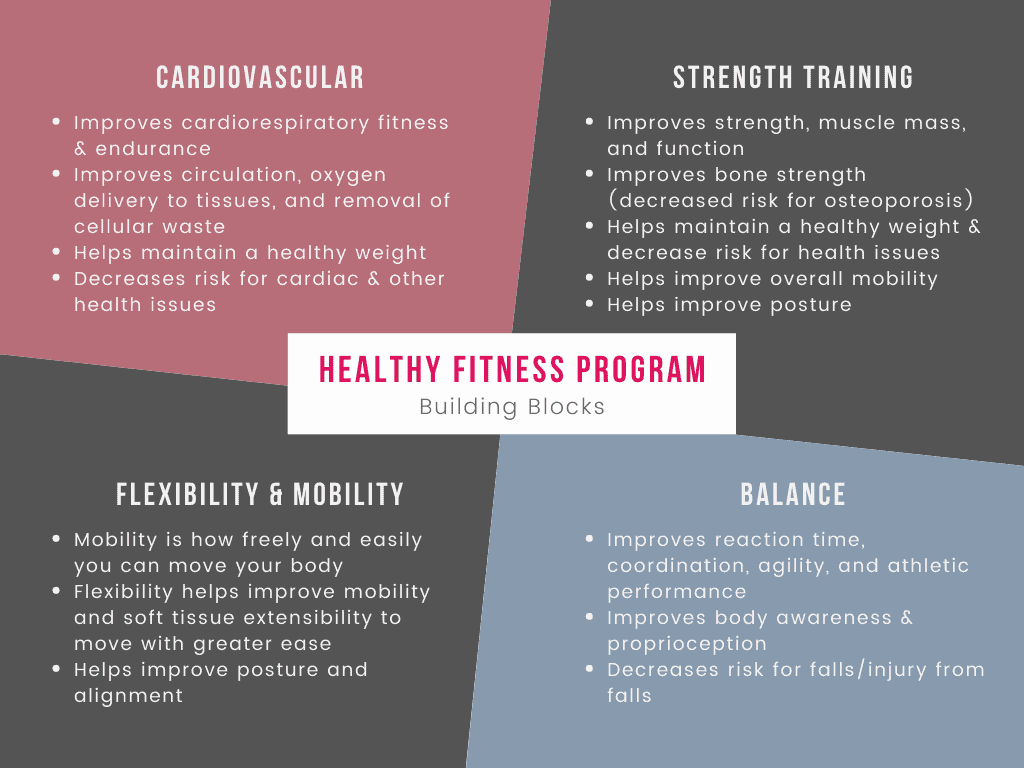 Chart illustrating the building blocks of a healthy fitness program including cardio, strength, flexibility/mobility, and balance